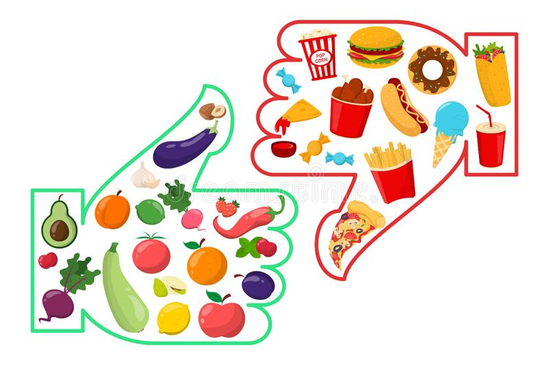 healthy vs junk food isolated unhealthy lifestyle vector french fries hamburger sugar nutrition includes vegetables 179497411